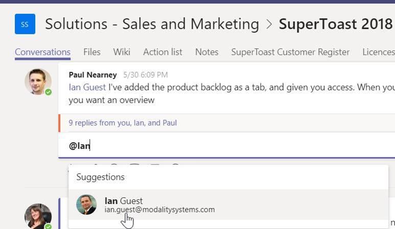 Microsoft Teams mention