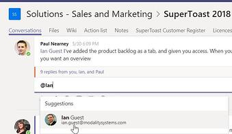 Microsoft Teams mention