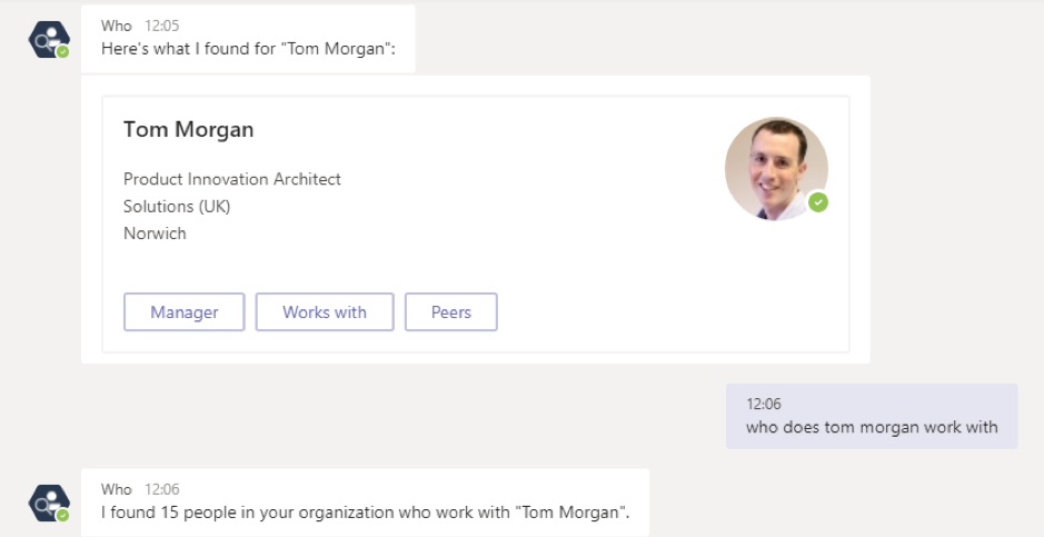 The Who Bot in Microsoft Teams