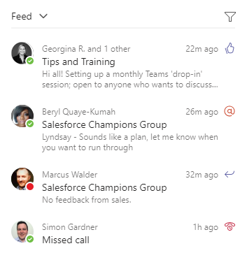 Microsoft Teams feed example