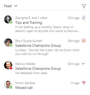 Microsoft Teams feed example